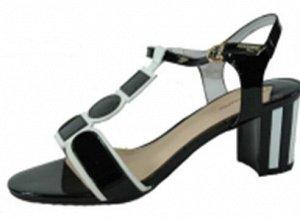 LA20-2-01 Туфли открытые жен. /нат.кожа-лак/нат.кожа/чер, /DWM-36:2,1,2,2,2,1.