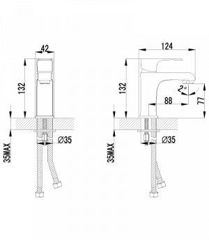 """LM1606C """"плюс Фактор"""" Смеситель для умывальника монолитный, хром"""