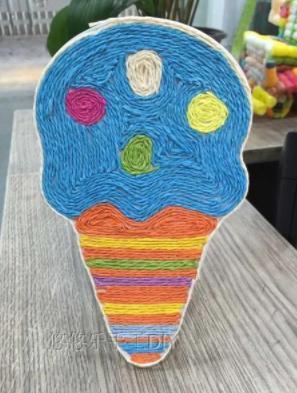 Аппликация из веревок Мороженое