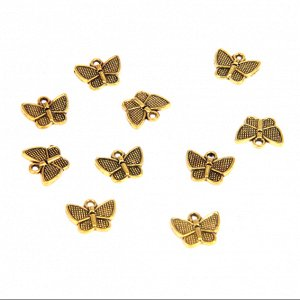 Подвески для бижутерии 10шт. Бабочка 13х10мм цвет золот.