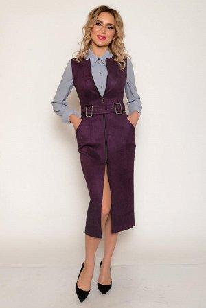 САРАФАН Ткань: костюмная эко-замша средней плотности с хорошим стрейчевым эффектом (хорошо тянется). С изнаночной стороны гладкая, с лицевой стороны - с невысоким ворсом.  Ткань уютная, приятная на ощ