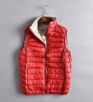 Ультралегкий мужской ДВУХСТОРОННИЙ жилет. Цвет красный / бежевый.