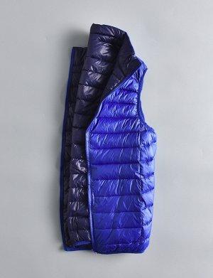 Ультралегкий мужской ДВУХСТОРОННИЙ жилет. Цвет синий / темно-синий.
