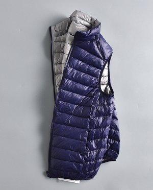 Ультралегкий мужской ДВУХСТОРОННИЙ жилет. Цвет темно-синий / серебристо-серый.