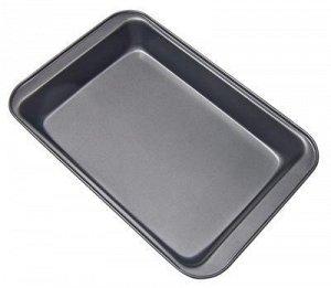 Противень Vetta Противень глубокий размерами 37,5х25,5х5 см из углеродистой стали с 2-х слойным антипригарным покрытием серого цвета - подходит для использования в духовых шкафах.