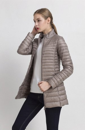Женская удлиненная ультралегкая куртка, цвет хаки бежевый