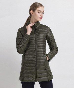 Женская удлиненная ультралегкая куртка, цвет темно-зеленый