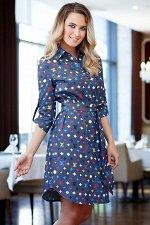 Платье-рубашка из тонкой джинсы принт LV (П-60-7)