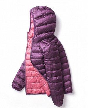 Ультралегкая женская ДВУХСТОРОННЯЯ куртка с капюшоном, цвет розовый/фиолетовый