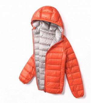 Ультралегкая женская ДВУХСТОРОННЯЯ куртка с капюшоном, цвет оранжевый/серый