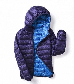 Ультралегкая женская ДВУХСТОРОННЯЯ куртка с капюшоном, цвет синий/голубой