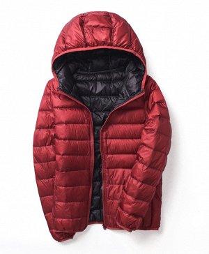 Ультралегкая женская ДВУХСТОРОННЯЯ куртка с капюшоном, цвет бордовый/черный