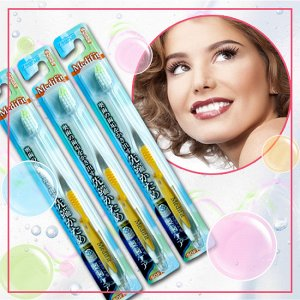 Зубная щетка (с прямым срезом ворса, зоной для очищения дальних зубов и прорезиненной ручкой)