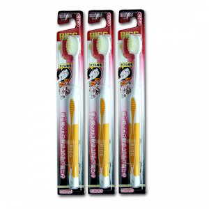 Зубная щетка (с комбинированным прямым срезом ворса и прорезиненной ручкой)