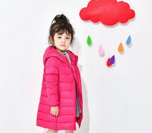 Легкое демисезонное детское пальто, цвет ярко-розовый