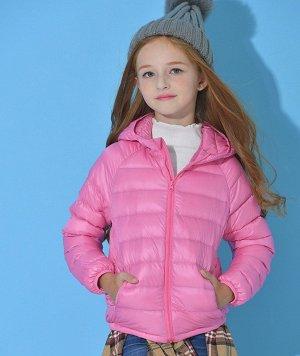 Ультралегкая детская куртка с капюшоном и контрастным подкладом, цвет розовый