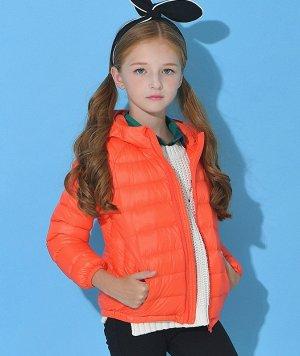Ультралегкая детская куртка с капюшоном и контрастным подкладом, цвет оранжевый