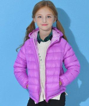 Ультралегкая детская куртка с капюшоном и контрастным подкладом, цвет светло-фиолетовый