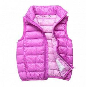 Ультралегкий детский жилет НА УТИНОМ ПУХУ, цвет сиреново-розовый
