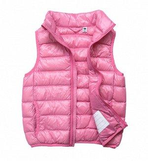 Ультралегкий детский жилет НА УТИНОМ ПУХУ, цвет нежно-розовый