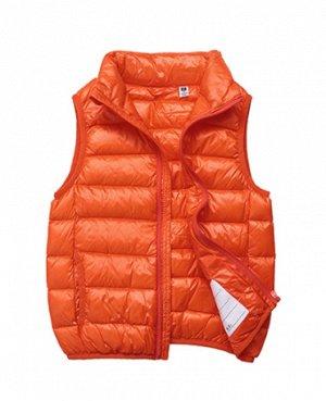 Ультралегкий детский жилет НА УТИНОМ ПУХУ, цвет оранжевый