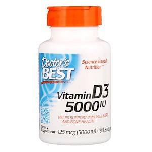 Doctor's Best, Витамин D3, 125 мкг (5000 МЕ), 180 мягких кап.