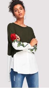 Джемпер-рубашка с вышивкой на рукавах Цвет: ЗЕЛЕНО-БЕЛЫЙ