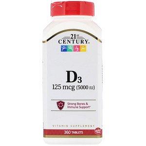 21st Century, Витамин D3, 5000 МЕ, 360 таб.