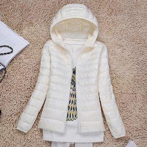 Ультралегкая женская куртка с капюшоном, цвет молочный