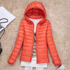 Ультралегкая женская куртка с капюшоном, цвет оранжевый