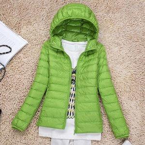 Ультралегкая женская куртка с капюшоном, цвет зеленый