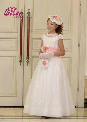 Платье дев. третьего слоя Элизабет молочный мусс