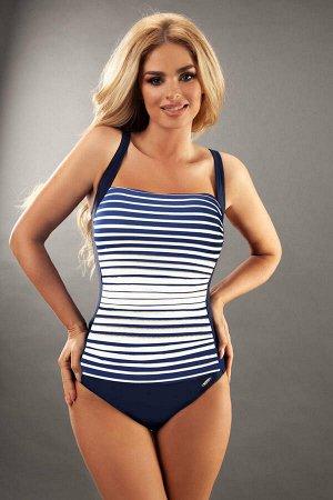 Купальник Слитный купальник Estella темно-синего цвета, передняя часть в белую полоску. Особый крой и специальная приятная для кожи подкладка позволяют использовать купальник для активного отдыха и за