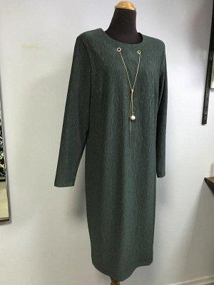 Платье М786  Платье зеленое с украшением Леди. Южная Корея. Полиэстер/вискоза.