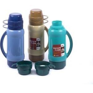 Термос ХИТ! Термос стеклянной колбой . В комплекте 2 кружки. Цвет и принт может быть любой. Держит тепло от 1 суток и более. Объем термоса 1.8л.