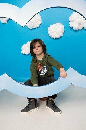 Свитшот для мальчика хаки, с начесом