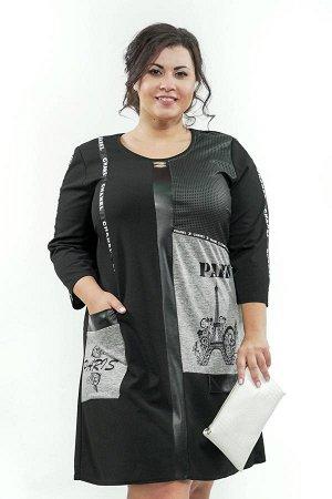 "Туника Фасон: туника; материал: трикотаж холодная вискоза; цвет: черный туника черная ""париж"" с лентами"