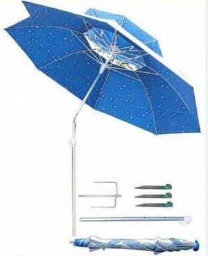 Зонт Зонт пляжный раскладной с изменяемым углом наклона. Диаметр регулируется 170-180 см. Высота резулируется 185-200см.  Состав: полиэстер, Сталь, Пластмасса, Гальванизация, Полипропилен, Полиэстерно