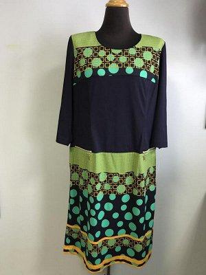 Платье Платье синее зеленый горох Жемчуг. Южная Корея.