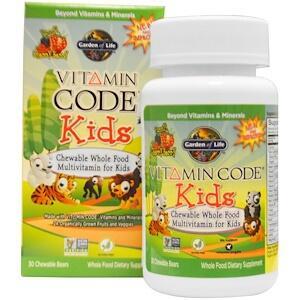 Garden of Life, Vitamin Code, жевательные цельнопищевые мультивитамины для детей, со вкусом вишни, 30 жевательных мишек