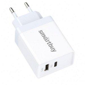 Зарядное устройство FLASH, PD+2.4 А, белое, USB+Type C PD 30 Вт, 2 USB (SBP-2023C)/62