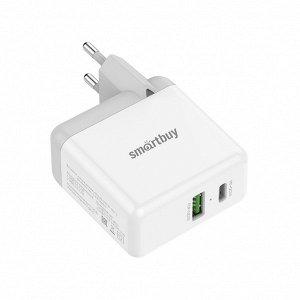 Зарядное устройство FLASH, USB QC 3.0+Type C PD 3 А, белое, 36 Вт, 2 USB (SBP-2024C)/62