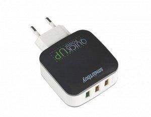 Зарядное устройство сетевое c поддержкой Quick Charge 3.0, glance, 18W, 3 USB, microUSB, черное,  (SBP-110)