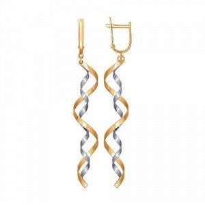 Оригинальные золотые  серьги Комбинированные - жёлтое и серебристое  золото