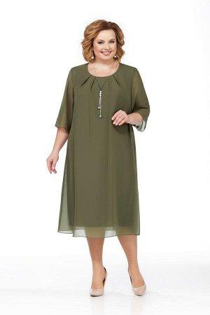 Платье Платье Pretty 1003 оливка  Рост: 164 см.  Свободное платье из шифона на трикотажной подкладке. Просторная накидка из шифона закреплена в округлой горловине и в проймах. Расширенные рукава из ш