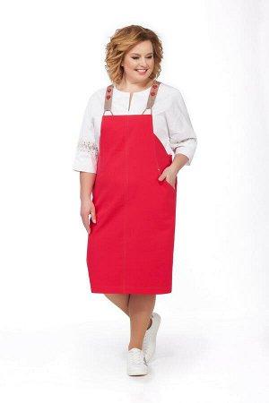 Костюм Костюм Pretty 690 красный  Рост: 164 см.  Комплект двухпредметный из блузы и сарафана. Детали: сарафан заужен к низу, со средними швами спереди и сзади, в боковых швах обработаны застежки на п