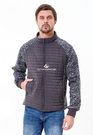 Мужская осенняя весенняя молодежная куртка стеганная темно-серого цвета