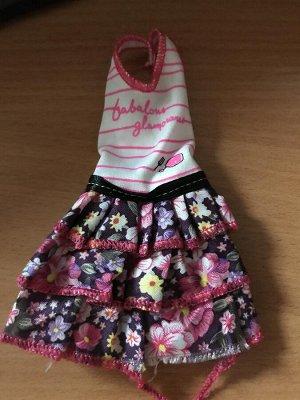 Платье в полоску с юбкой в цветочек УЦЕНКА