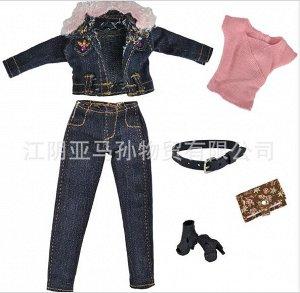 Комплект одежды (топ + джинсы + джинсовая куртка + ремень + босоножки + клатч)