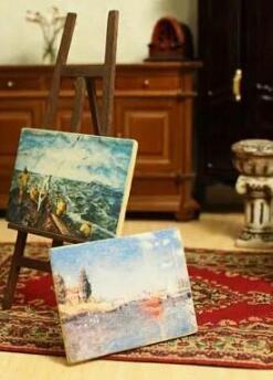 Деревянный мольберт с 2-мя картинами